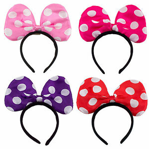 12 minnie mickey mouse ears light up bow headbands flashing led party