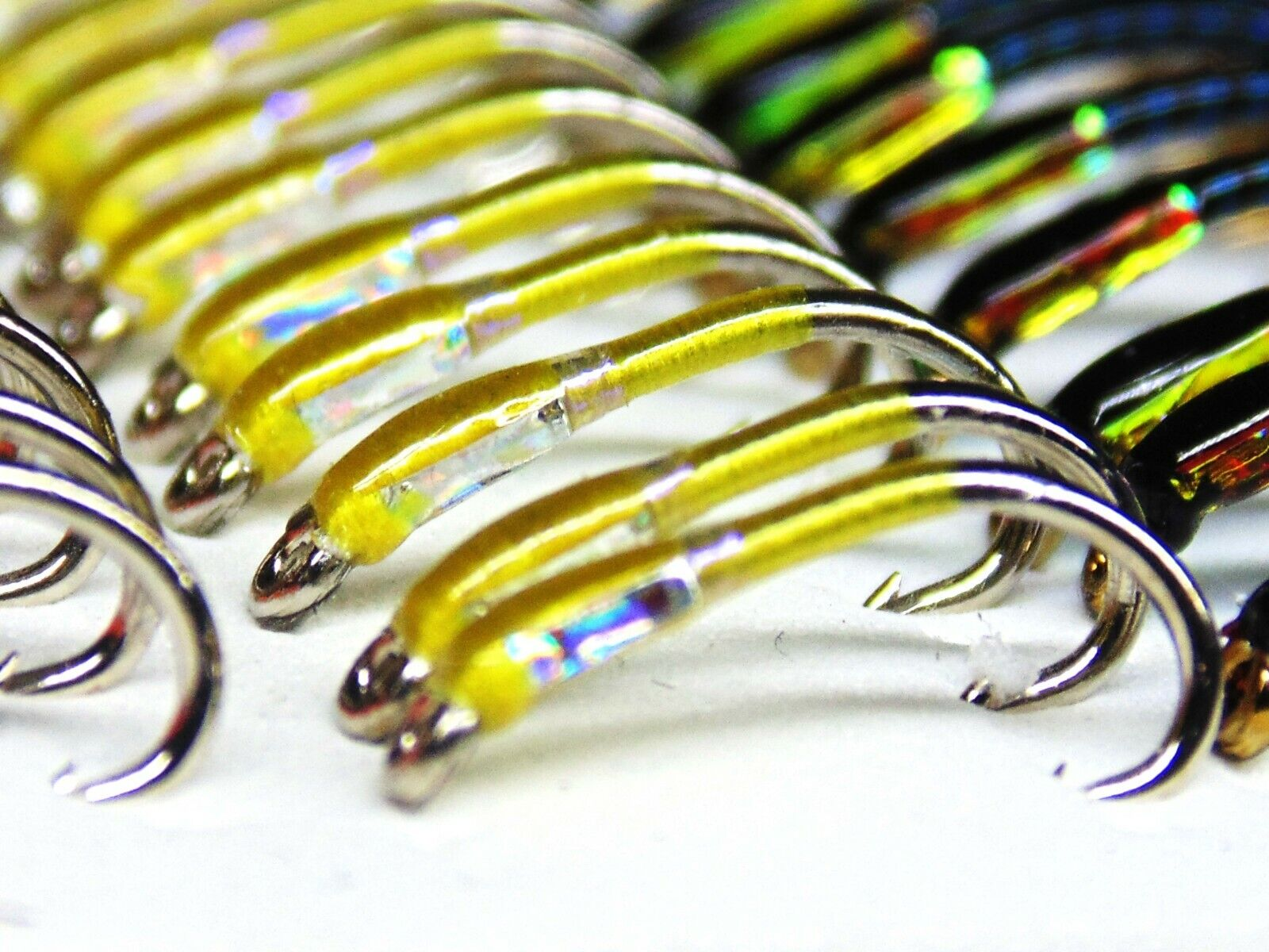 3 x Yellow Buzzers with UV neck Silver hollow cheeks size 12 Trout Fishing Flies