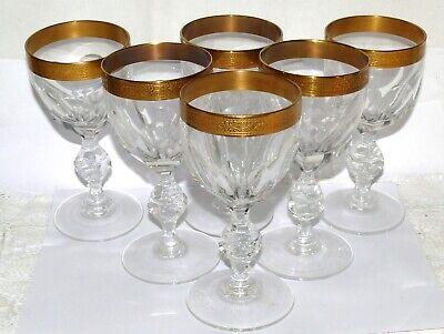 6x Rot- Weisswein Wein-Glas Ätz-Gold-Rand 14415//11 Klokotschnik Minerva