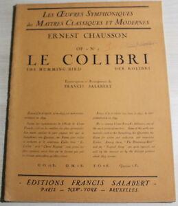 Partitions-d-039-Orchestre-1927-Ernest-Chausson-LE-COLIBRI-OP-2-N-7