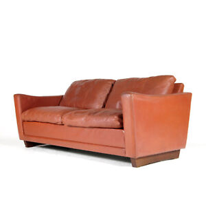 Retro Vintage Danish Design Leather 2 Love Seat Seater Sofa Rosewood 1960s 70s