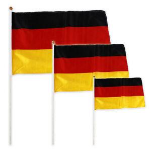 3 X Tige 30 X 45 Cm Stabfahne Drapeau Fanion Allemagne Football Gagner Les éLoges Des Clients