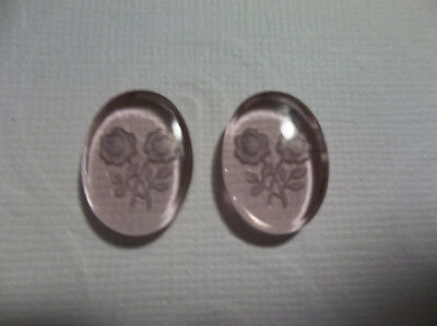 Vintage Cameos Garnet Red Two Rose Glass Cabochons 18X13mm Carved Intaglio Qty 2