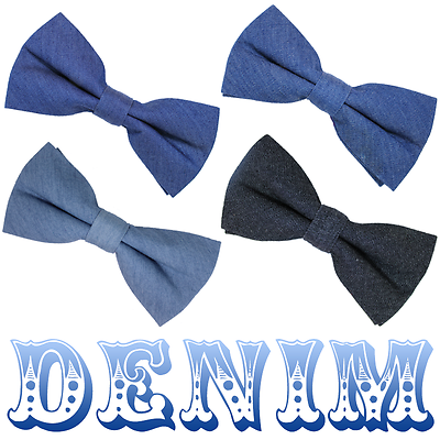 #418 Warm Handle Western Style Denim Bow Tie Four Colours