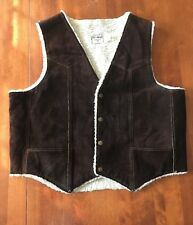Men's Vintage Steer Brand  Leather Brown White Shearling Vest Size XL