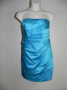 Details About Davids Bridal Dress Plus Size 26 Strapless Malibu Blue F14212 Bridesmaid Nwt 139