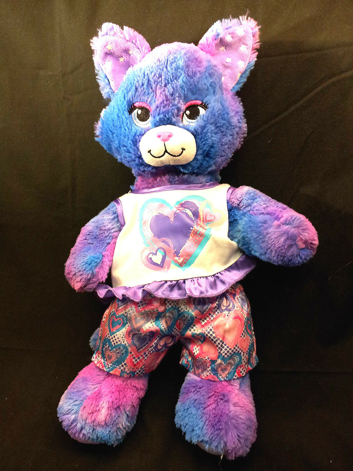 Stars A Glow Kitty Cat Build a Bear Heart Clothes viola 18  Plush BAW Sound