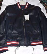 Bally Lamb Leather Jacket Mens size US 44, EU 54. Soft navy blue leather
