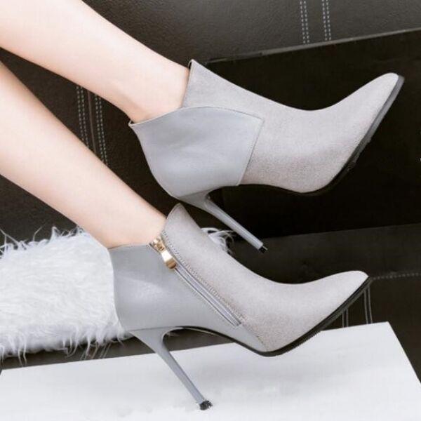 Bottes talons aiguilles basses gris perle Élégant 10 cm comme cuir CW999