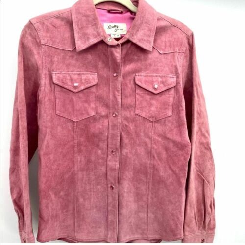 Scully pink suede snap front western shirt szM