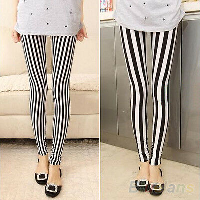 Hot Trendy Women's Black White Vertical Stripes Leggings Hot BABA