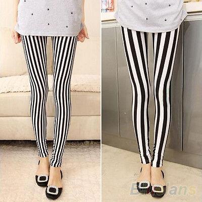 Hot Trendy Women's Black White Vertical Stripes Leggings Hot BABA