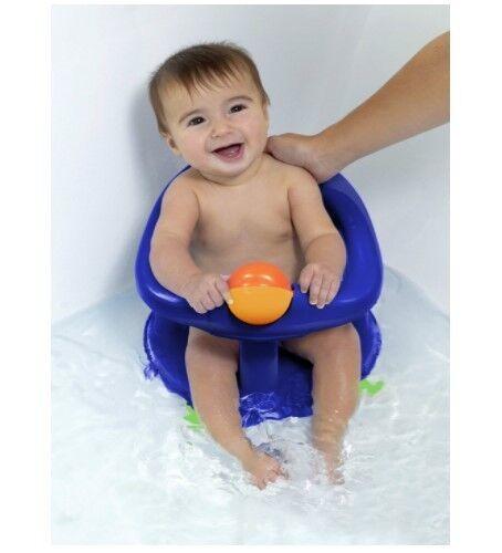 Safety Child Swivel Bath Seat Baby Bathing Support Ergonomic Rotating Chair Blue