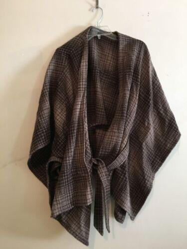 Taylor Sweater M Poncho Check Størrelse Top Tweed Ann Plaid Uld Brun Cardigan Kvinder fCqOUUwx