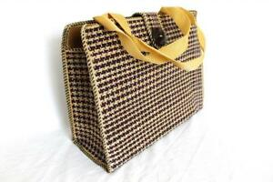 Ladies-Women-Jute-Weave-Handbag-Brown-Square-L