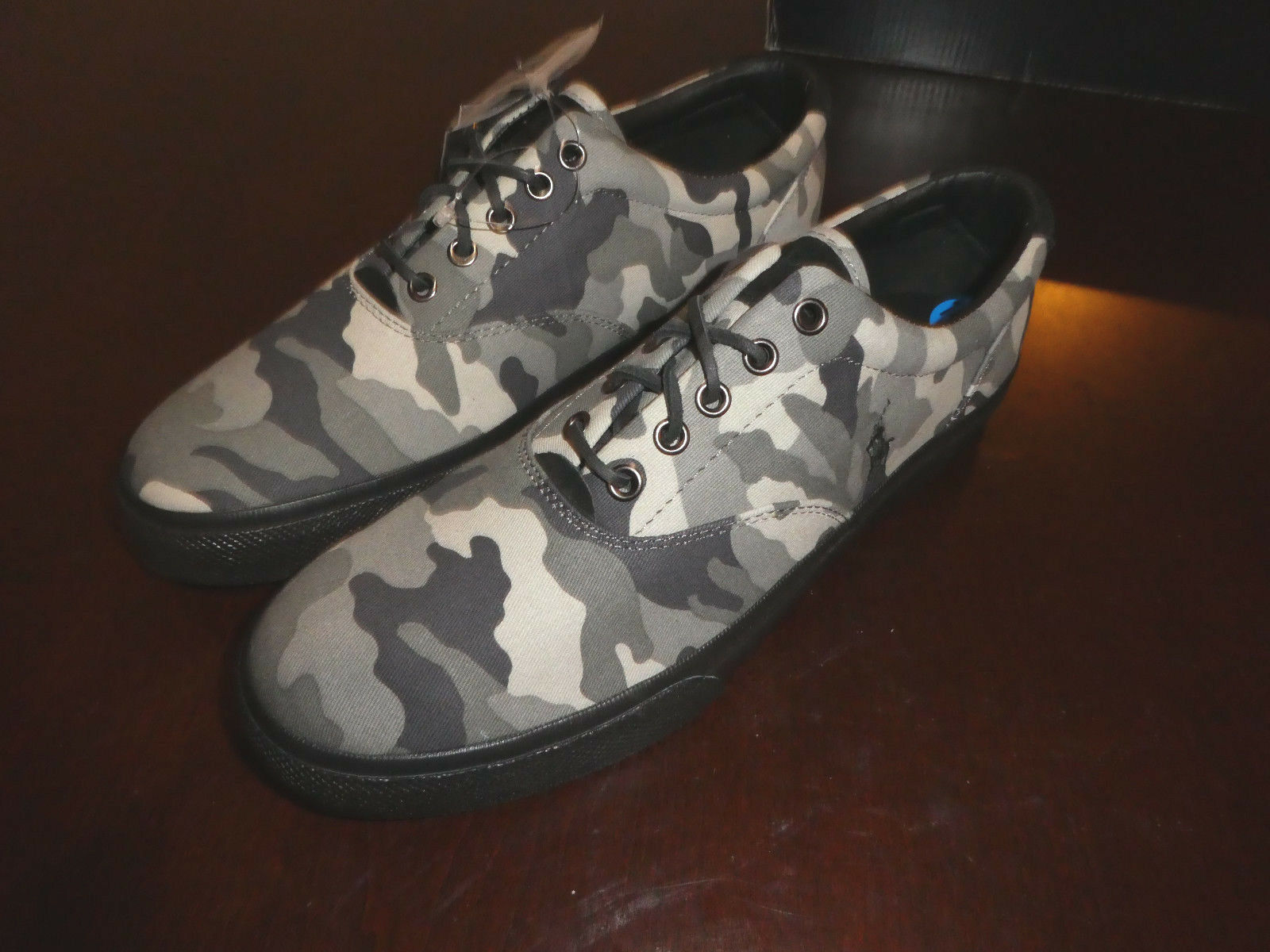 Polo Ralph Lauren Vaughn mens schuhe boat new canvas camo schwarz