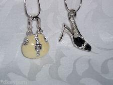 NEW 2 Pendant Necklace Silver Tone Metal High Heel Shoe & Handbag Necklaces