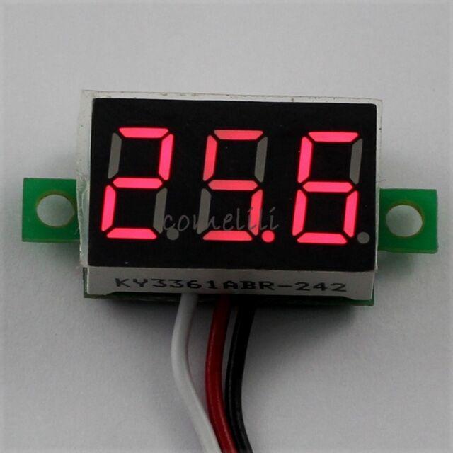 Mini DC 0.1-30V Red LED 3-Digital Display Voltage Voltmeter Panel for Motorcycle