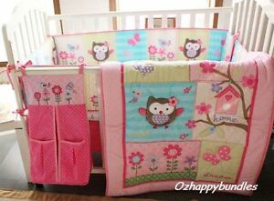Details About New Baby S 9 Pieces Cotton Nursery Bedding Crib Cot Sets Owl Tree Design