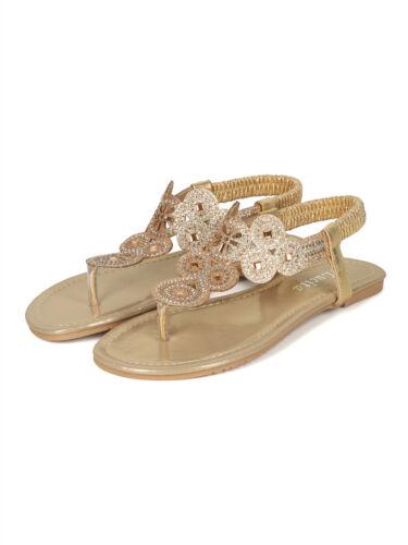 New Women Glitter Medallion Rhinestone Slingback Flat Sandal 18053 Lucita Line