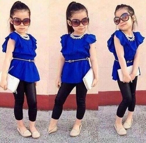 2PCS Baby Girls Dress Blue Coat Black Pants Set Kids Clothes Outfits Fit 2-8T