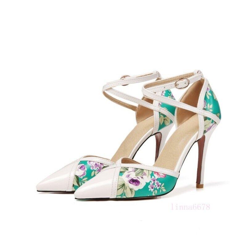 Womens shoes High Heel Pointed Toe Buckle Strap Flower pattern grace Lady hot Sz