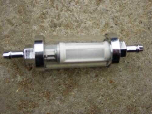"""AUTO Classica Cromato E Vetro Filtro Carburante Lavabile Riutilizzabile 8mm//5//16/"""""""