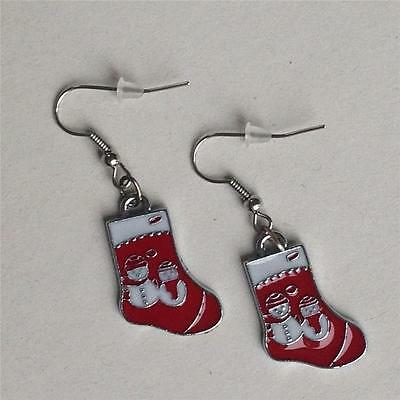 Red Christmas Stocking Snowman Fun Novelety  Earrings
