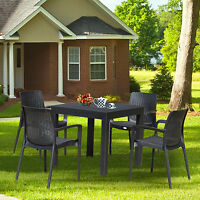 5pc Patio Furniture Set Resin Wicker Style Dining Table Chair Outdoor Garden