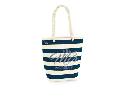 Personalised The New Mrs Bride Beach Tote Bag Large Cotton Canvas Rope Handle