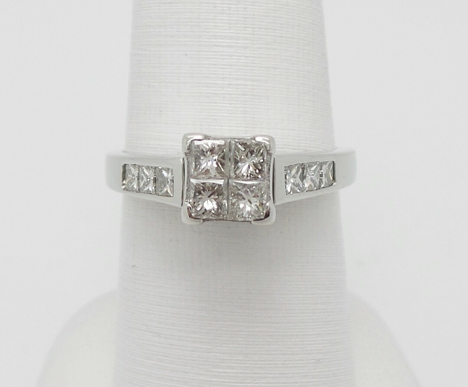 1CT PRINCESS DIAMOND SOLITAIRE ENGAGEMENT WEDDING BRIDAL RING 18K WHITE gold