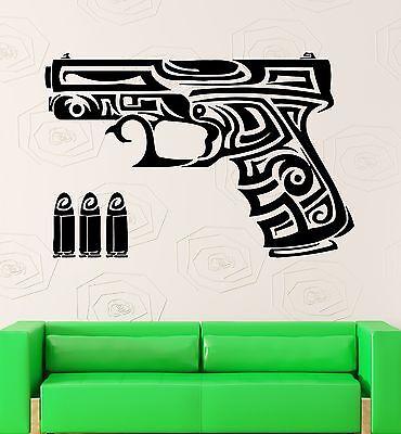 Wall Sticker Gun Pistol Cross Tattoo Ornament Vinyl Decal Art Decor ZX690