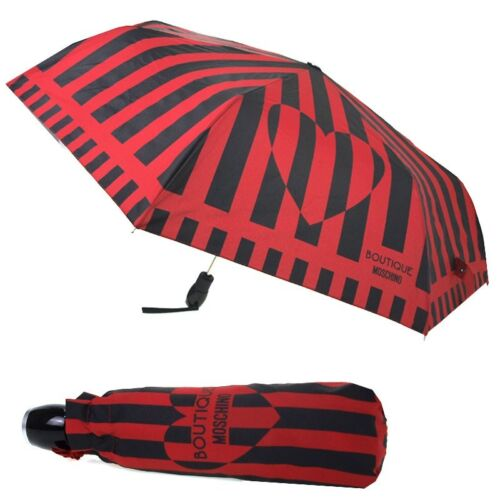 Umbrella MOSCHINO Black with red lines 7090