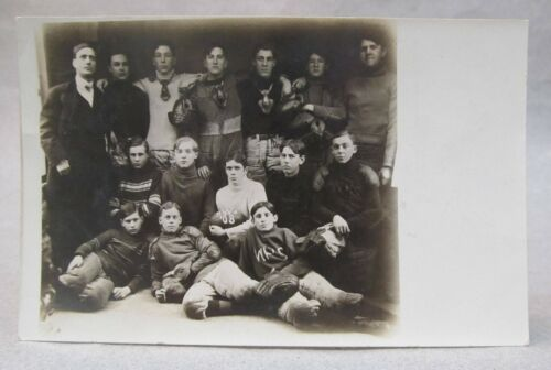 1908 WALNUT IOWA High School football team RPPC real photo postcard NOSE GUARDS