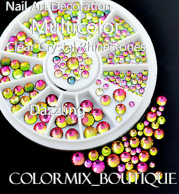 #R30 Nail Art Decoration Dazzling Multicolor Clear Crystal Glitter Rhinestones