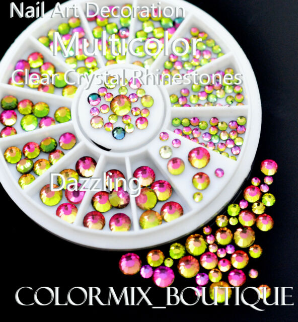 #R30 Nail Art Decoration Dazzling Multicolor Clear Crystal Glitter Rhinestones