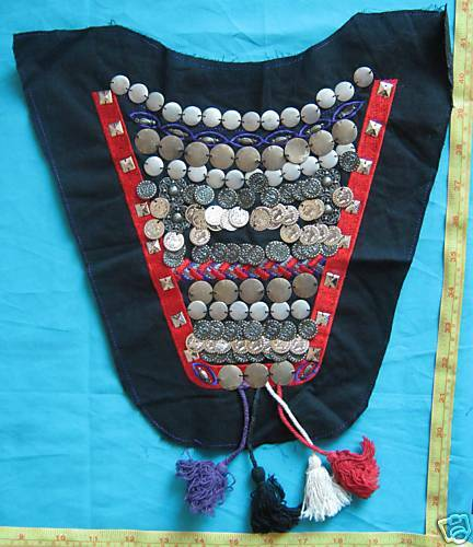 Fabric VNeck Neckline Motif Embroidery Applique Coins metal beaded patch 1pc