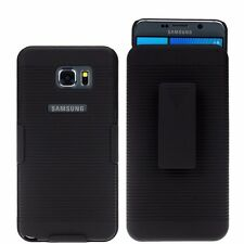 For Samsung Galaxy Note 5 Slim Holster Shell Case Cover with Belt Clip - Black