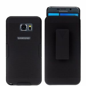 new styles 77f30 fb504 Details about For Samsung Galaxy Note 5 Slim Holster Shell Case Cover with  Belt Clip - Black