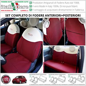 FODERE COPRISEDILI Su Misura! FIAT 500 Fodera FODERINE COMPLETE Rosso/Ecrù