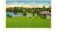 Vintage Color Linen Postcard Scene at Oconee State Park, Near Walhalla, S.C.
