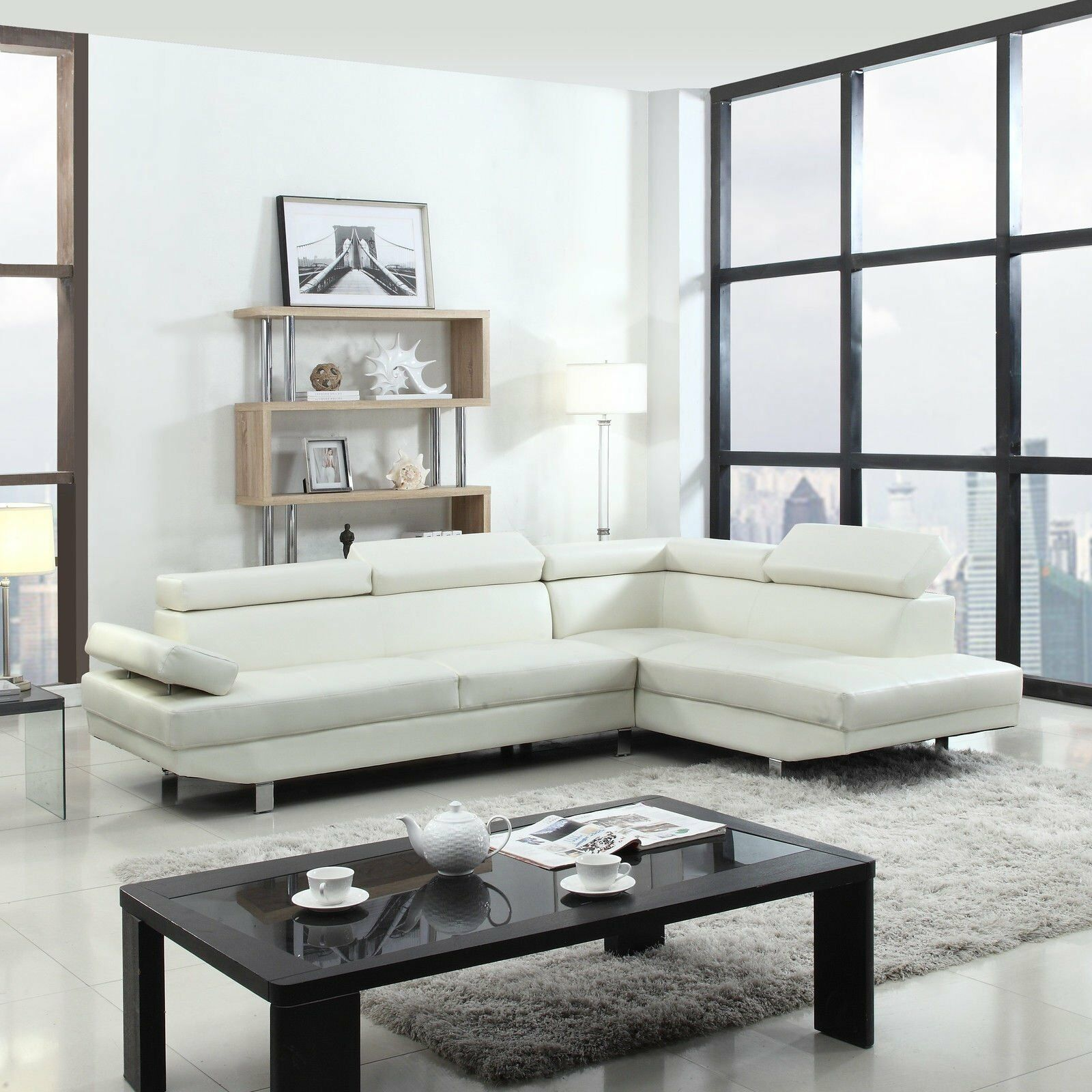 Modern Contemporary White Faux Leather Sectional Sofa, Living Room Set