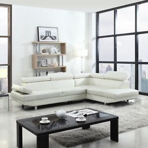 Image Is Loading Modern Contemporary White Faux Leather Sectional Sofa Living