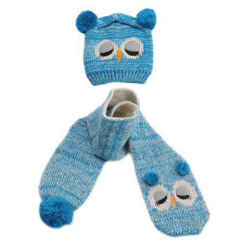 Owl Baby Boys Girls Winter Warm Hats Scarf and Cap Set Earflap Beanie Gift FI