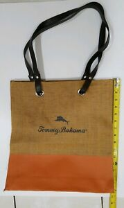 Tommy-Bahama-Tote-Bag-Shopper-Brown-Orange-Woven-Straw-Lined-Marlin-Spellout