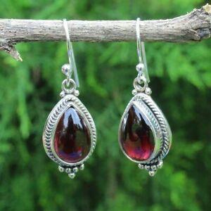 Solid-925-Sterling-Silver-Garnet-Gemstone-Dangle-Earrings-Jewelry