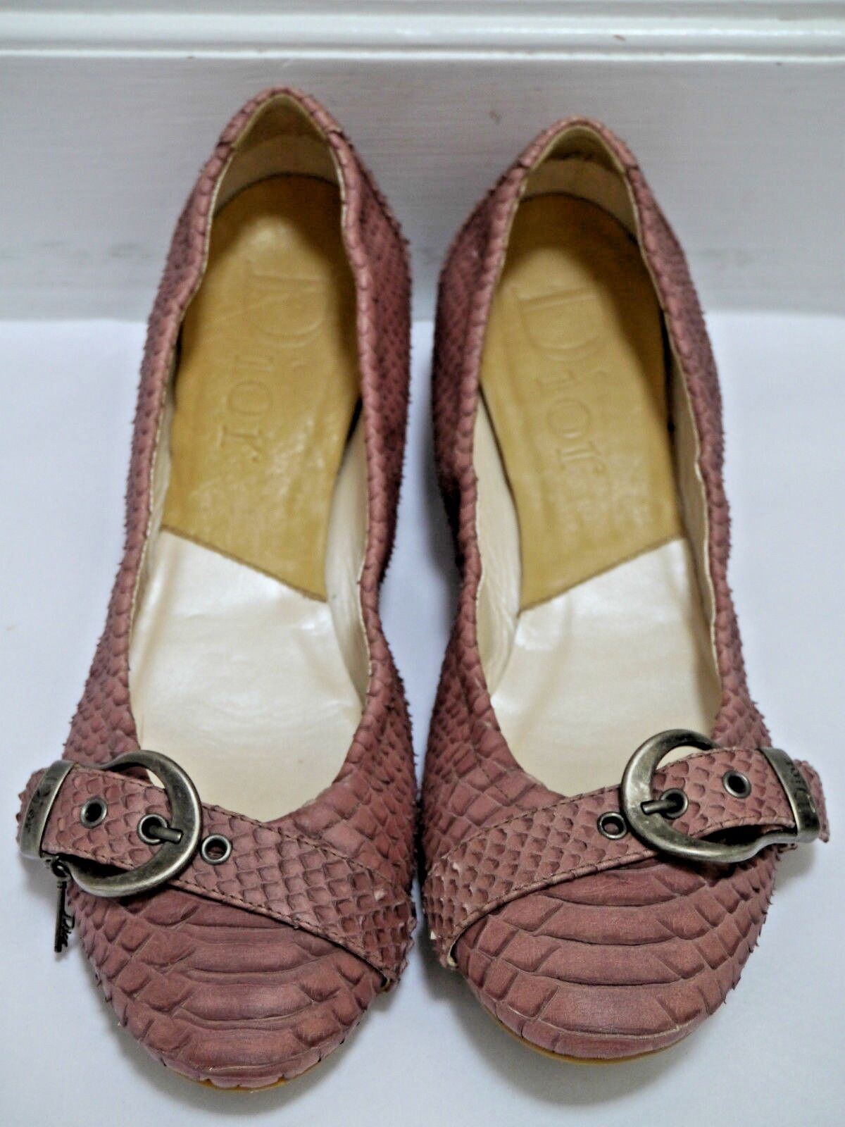 CHRISTIAN DIOR genuine python skin ballet flats shoes Italian size 39