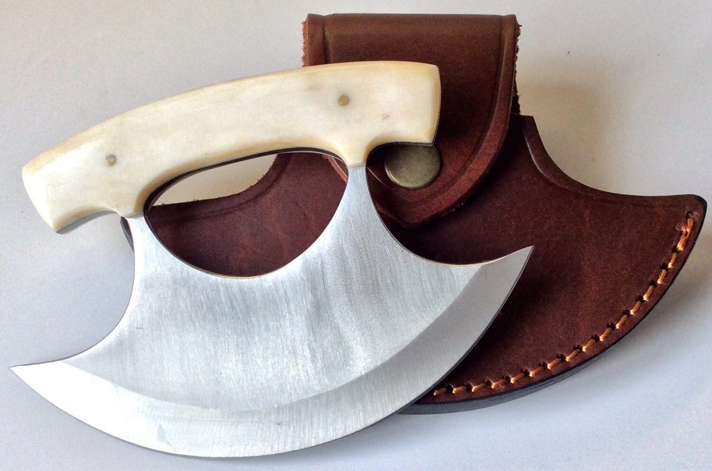 Poignée en os Ulu couteau avec Véritable Qualité étui en Cuir