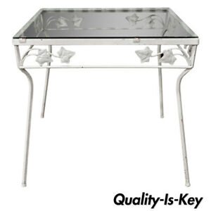Details About Vintage Wrought Iron Square Outdoor Patio Pool Side Table Ivy Fl Woodard