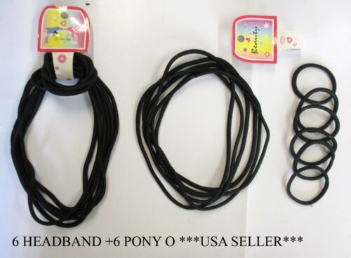 LOT OF 2,6 PACK--5MM ROUND HEADBAND+6 PONY O COMBO PACK BLACK COLOR ELASTIC